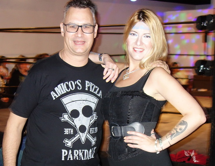Frankie from Amicos Pizza with ring girl Raymi the Minx