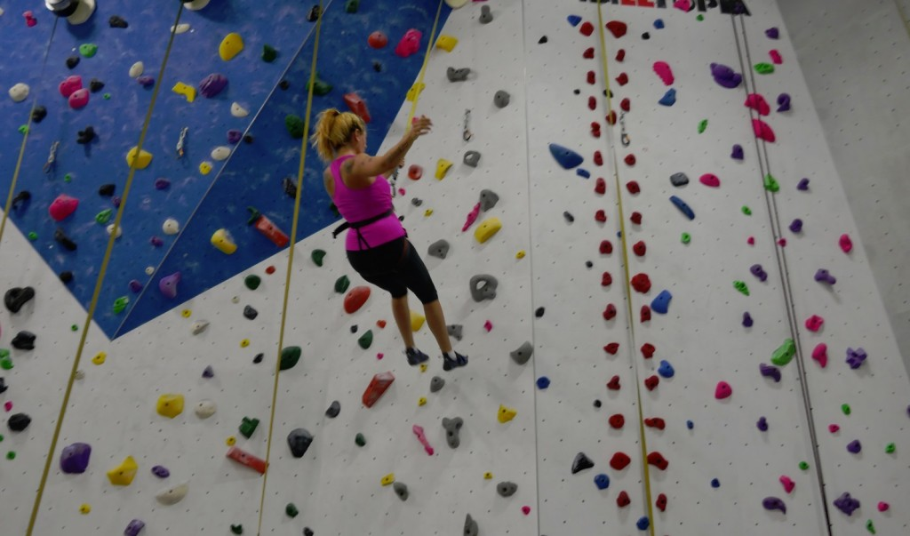 falling off the wall at Hub Climbing in Markham