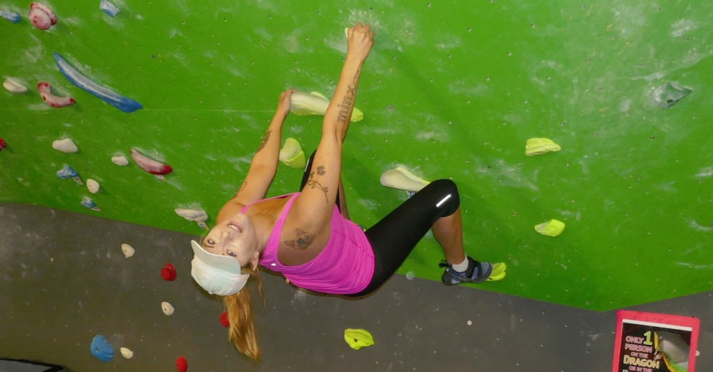 raymi climbs upside down