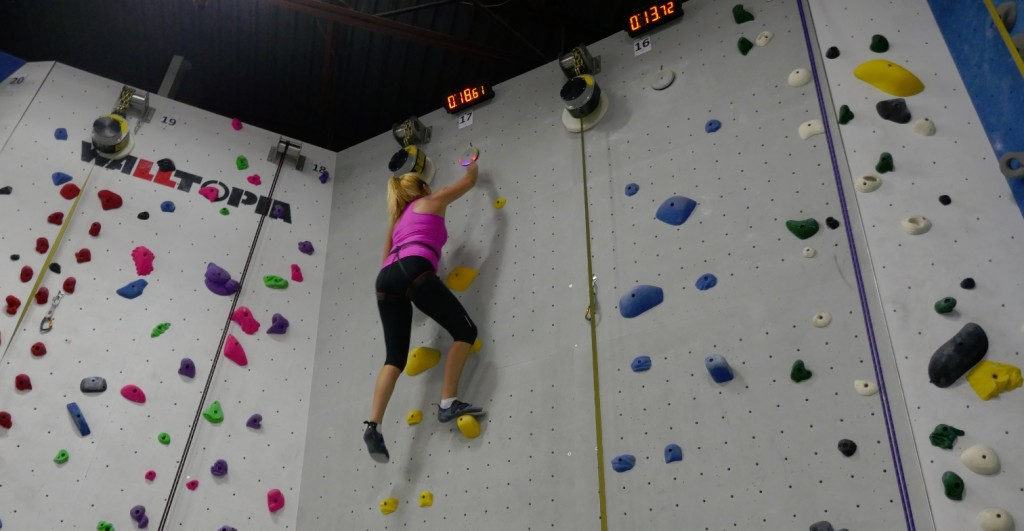 Raymi on the speed climb wall in under 18 seconds