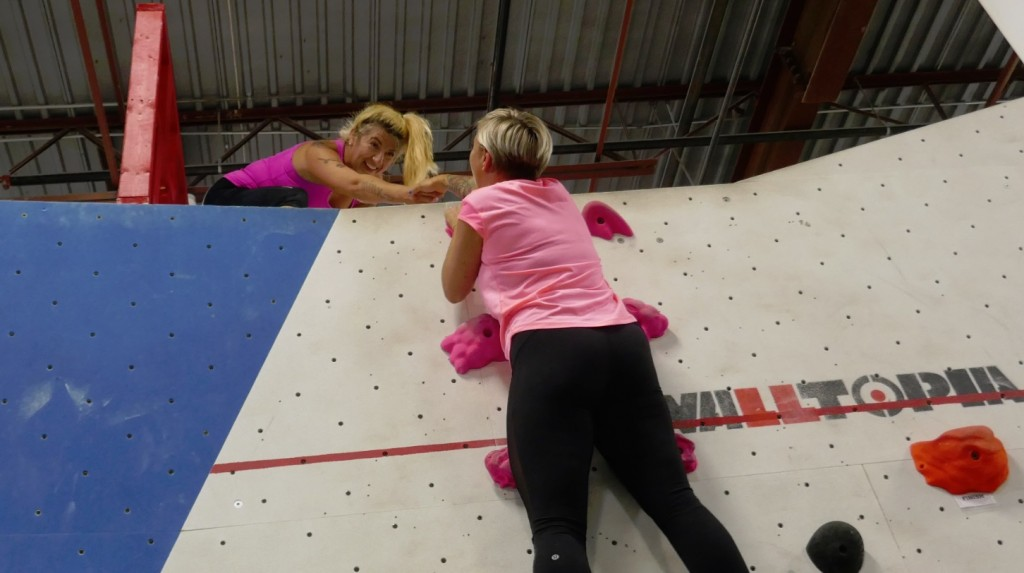 Casie Stewart at Hub Climbing - Slide Wall climb over the top with Raymi the Minx